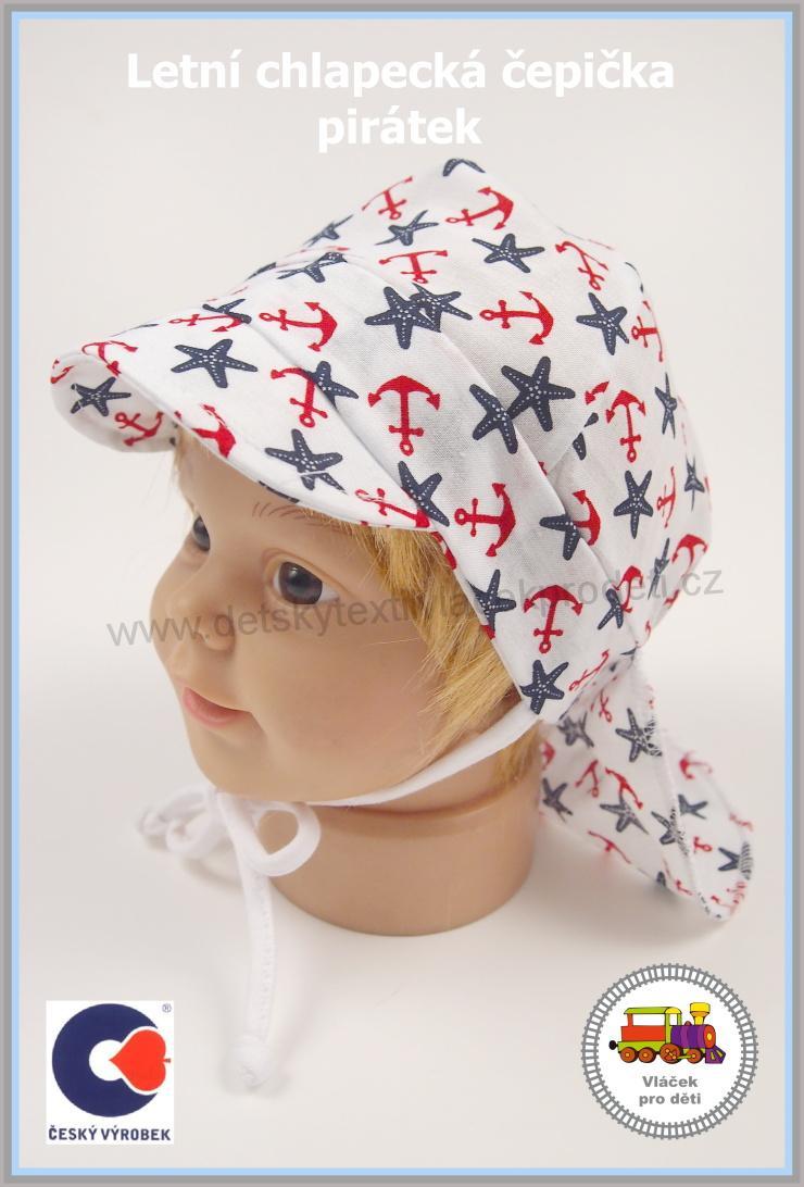 b983142d7e6 Kojenecká letní čepice Spark zavazovací pirát č.984 Bílý s červ. kotvou  vel.S