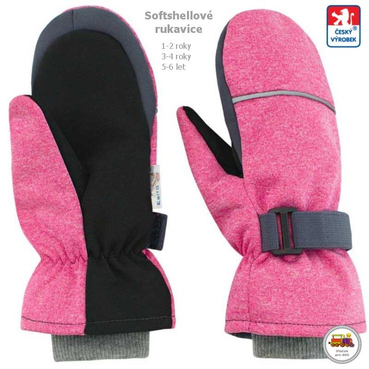 Dětské zimní rukavice softshellové růžové  953  vel.3-4 roky empty 2731a8e0cd