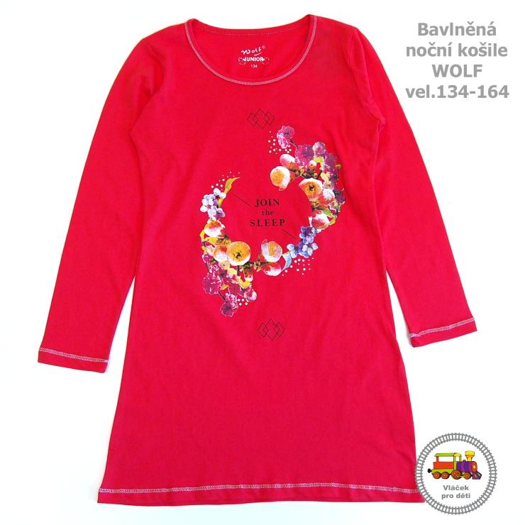 cfd90d6b249 Noční košile Wolf S2659 s dlouhým rukávem jahodová vel.158