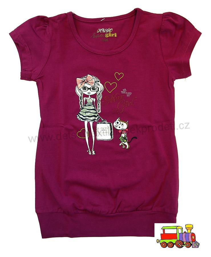 96af32fae4f0 Tričko dívčí - tunika Kugo S1153 fialové s holčičkou vel.122 (skutečná 116)