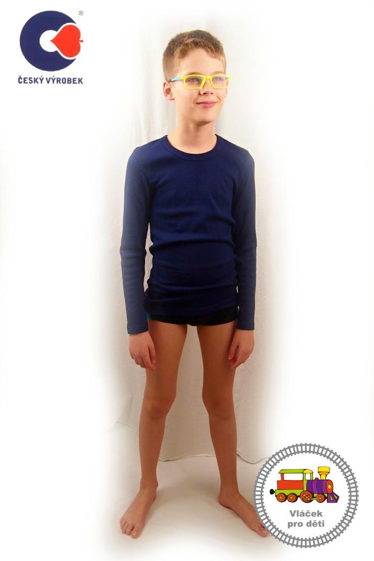00c0a81f39e Chlapecký dívčí nátělník modrý dlouhý rukáv Hektorek vel.158 (skutečná 146-152  empty