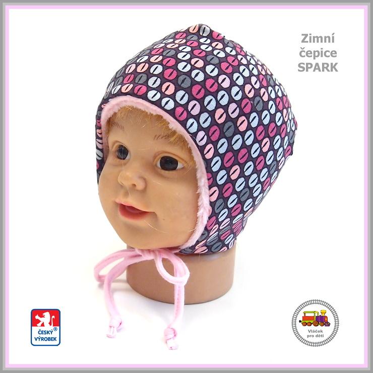 02ee0136ad1 Dětská zimní čepice - bavlna s fleesem Spark  640  Kávová zrna růžová  zavazovací vel empty