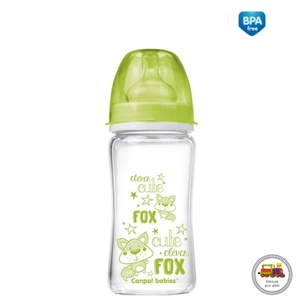 Lahev FOREST FRIENDS EasyStart PURE glass 240 ml zelená