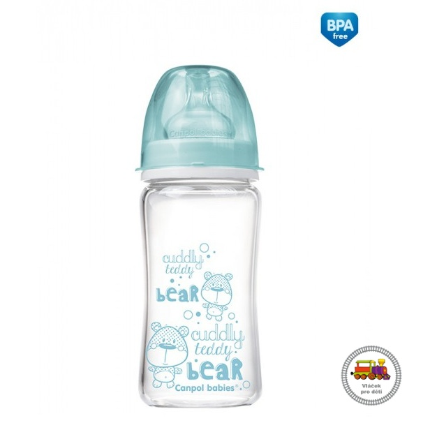 Lahev FOREST FRIENDS EasyStart PURE glass 240 ml  modrá