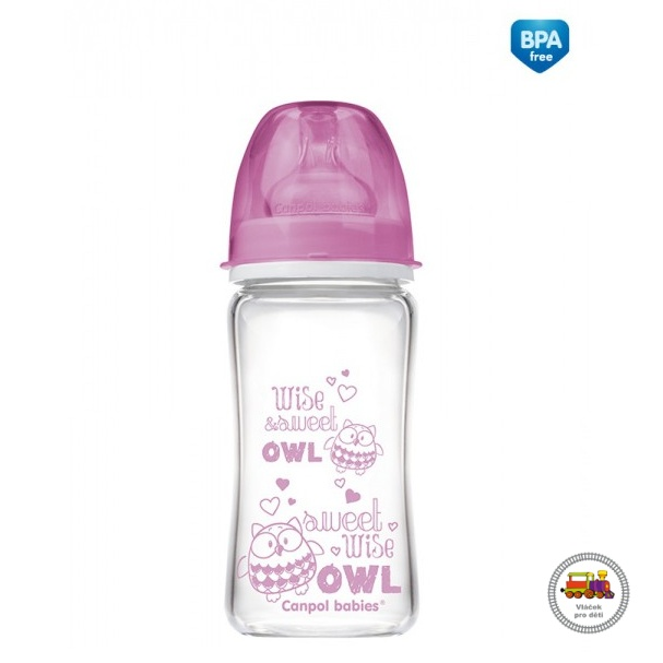 Lahev FOREST FRIENDS EasyStart PURE glass 240 ml  růžová